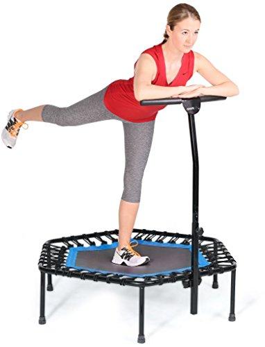 SportPlus Fitness Trampolin, Bungee-Seil-System, Ø 110 cm, bis 130 kg Benutzergewicht, TÜV Süd Sicherheit geprüft, blau - 5
