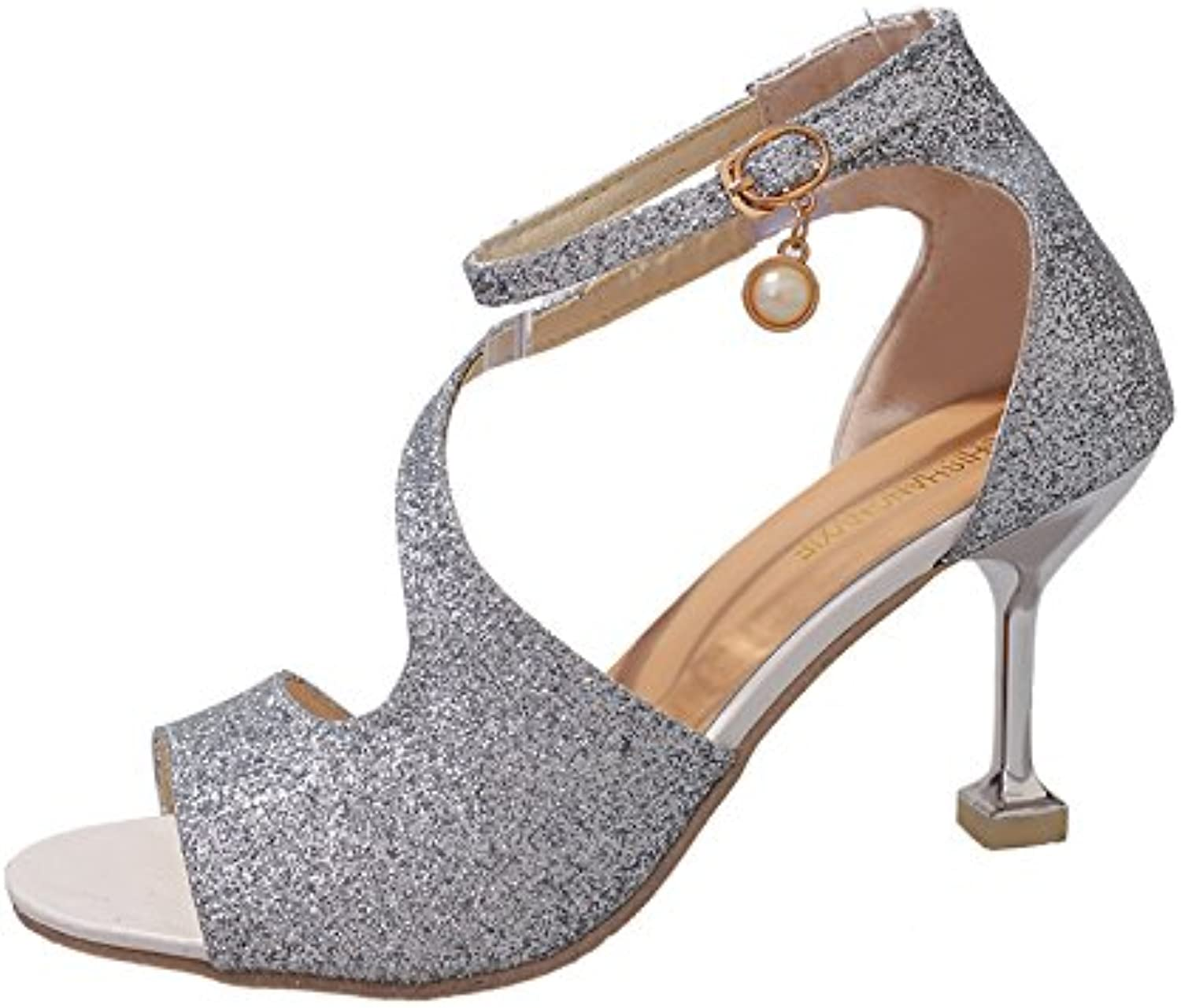 The sanding cup and high heel of the women's shoes,silvery,Thirty-eight