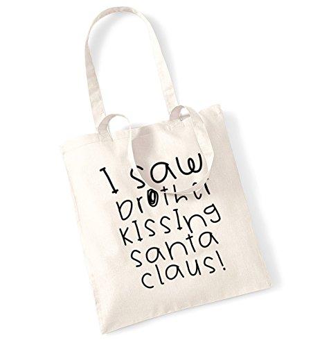 I saw brother kissing santa claus tote bag