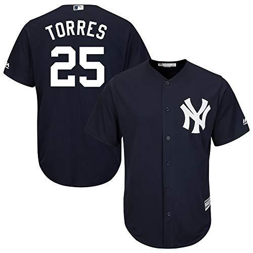 Jersey Baseball Hauptliga-Baseball # 25 Torres New York Yankees,Blue,Men-XXXL