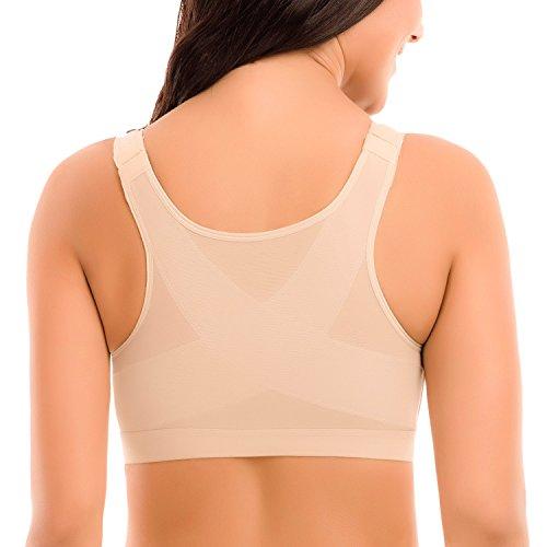 Delimira Femme Soutien-Gorge Fermeture Devant Posture sans Armatures Beige  FR 95D 8892ffe8936