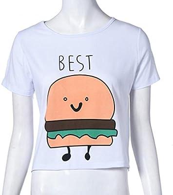 QHGstore Camiseta de impresión divertida Camisetas de algodón de las mejores amigas camisetas Tops camiseta de manga corta