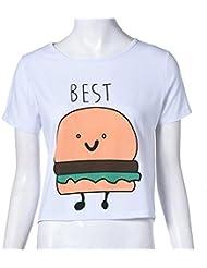 QHGstore Camiseta de impresión divertida Camisetas de algodón de las mejores amigas camisetas Tops camiseta de manga corta NO.2 S
