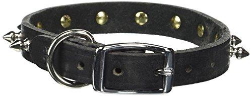 Namsan Black Dog Puppy Hund Katzen Kroko Leder Halsbänder mit einer Zeile Spikes Silberfarben-small-black -