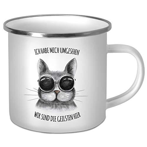 trendaffe - Emaillebecher mit Katze Motiv und Spruch: Ich Habe Mich umgesehen - wir sind die geilsten Hier
