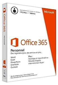 Office 365 Personnel - 1 PC ou Mac + 1 tablette - 1 an d'abonnement (carte d'activation)