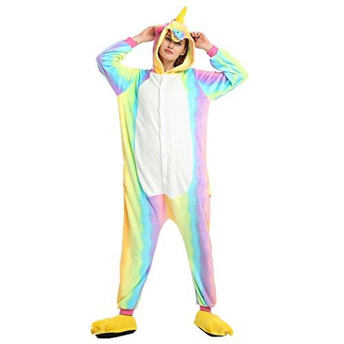 oamore Einhorn Pyjama Cartoon Tiere Pyjama Cosplay Kostüme Flanell Jumpsuits Unisex Erwachsene Kinder Nachtwäsche Party Kostüme (Rainbow, M)