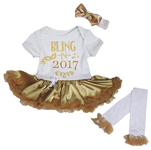 (Petitebelle Bling N 2017 White Bodysuit Gold Tutu Leg Warmer Nb-18m (0-3 Months))