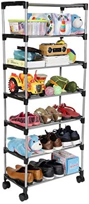 Happer Premium 6-Tiers Shoe Rack/Multipurpose Storage Rack with 4 Caster Wheels, Classic (Black & Sil