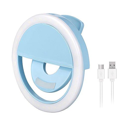 Olliwon 36 LED Strahler Flash Selfie Licht Ring Selfie Enhancing Kamera Licht für Selfie Ring-Licht für alle Handys und Tablets mit 3 Ebene Helligkeit USB Charger - blau