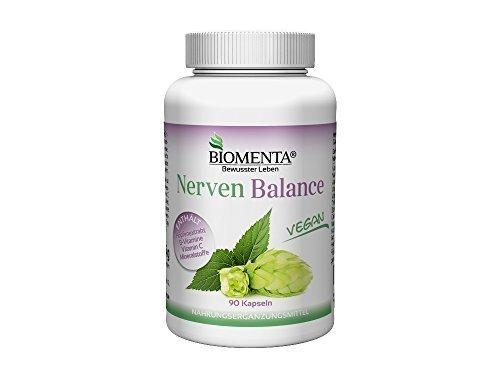 BIOMENTA NERVEN BALANCE | mit HOPFEN + VITAMINE UND MINERALSTOFFE | 3 Monatskur | VEGAN | 90 Nerven-Kapseln
