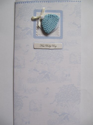 Bella materiale blu Babys Hat & Ribbon New Baby Boy cartolina di auguri