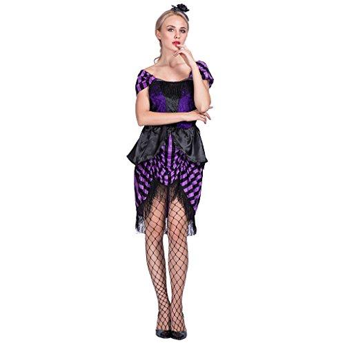 EraSpooky Western Saloon Girl Kleid Damen Kostüm Cowgirl Wilder-Westen Halloween Fasching Verkleidung