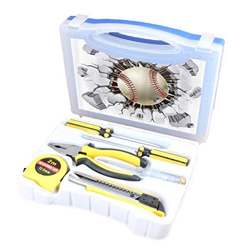 Handliches Werkzeugset Kombination Haushaltssportset Grundlegende DIY-Handwerkzeugkiste Mit Schraubendreher, Zange, Maßband, Teststift, Schneidwerkzeug, Baseball und Altputz (Baseball-maßband)