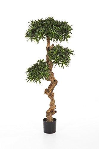artplants – Künstlicher Podocarpus Baum NELIO, 4800 Blätter, grün, 120 cm – Deko Baum/Kunstbaum