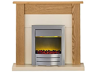 Adam Southwold Fireplace Suite in Unfinished Oak with Colorado Electric Fire, 2000 Watt