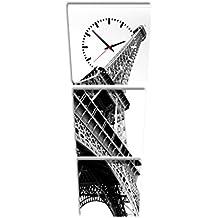 Reloj de pared cuadrado Torre Eiffel Blanco y negro París Francia