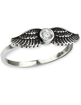 Ring Engelsflügel aus 925er Sterling Silber mit weißem Zirkonia