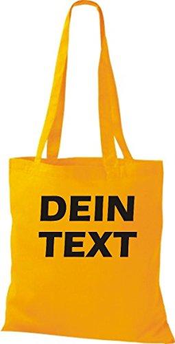 Shirtstown Stoffbeutel mit deinem Wunschtext versehen viele Farben Goldgelb