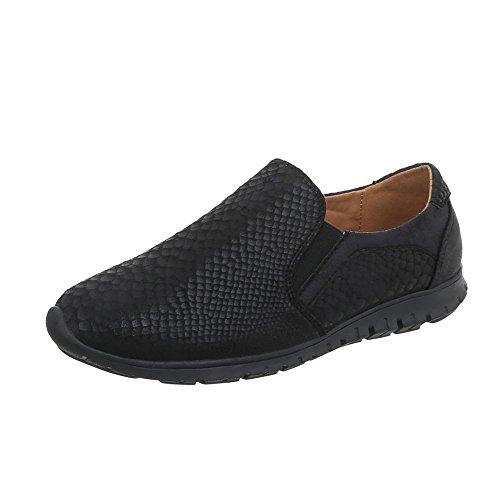 Ital-Design Scarpe da Donna Sneaker Piatto Sneakers Low nero J6A