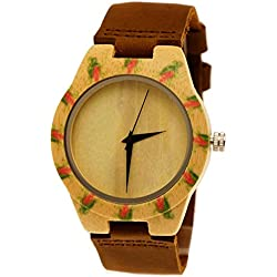 'Henny Small Ladies Designer Organic Maple Wood Funny Cow Leather Strap watch in brown with floral roses Cool Limited Edition + Watch Box