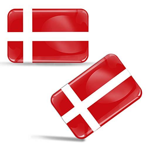 2 x Aufkleber 3D Gel Silikon Stickers Denmark Dänemark Flagge Fahne Auto Motorrad Fahrrad Fenster Tür PC Handy Tablet Laptop F 51