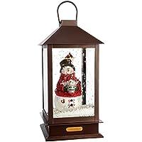 WeRChristmas Pre-Lit LED Snowing Musical Snowman Lantern Christmas Decoration, 38 cm - Brown