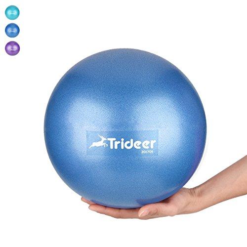 Mini Pilates Ball von 23 cm / 25 cm, klein Gymnastikball inkl, Aufblasen Röhrchens, Für Fitness, Reha, Rückentraining und coordination Herren Damen Kinder, Erhältlich in aktuellen Trendfarben : blau, türkis, violett