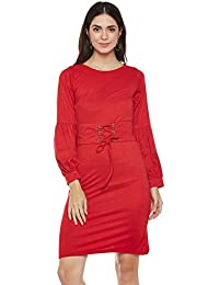 Red volume sleeves corset dress