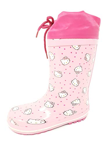 Girls Hello Kitty Wellies/Rain Boots with Drawstring Mid Calf Pink