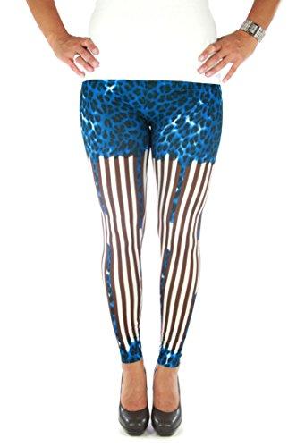 Sexy braun-weiß gestreifte Leggings mit blauem Leopardenmuster, GoGo Größe S - M