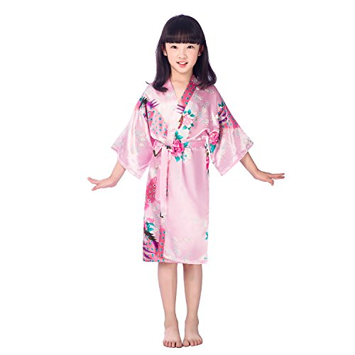 Juleya Kids Girls Silk Robes Satin Robe Short Floral Peacock Kimono Stain Sleepwear