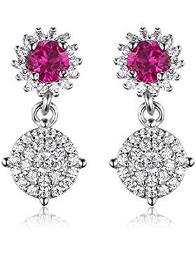 JewelryPalace Mode 0.7ct Runde Synthetisch Rot Rubin Tropfen baumeln Ohrringe Ohränger 925 Sterling Silber