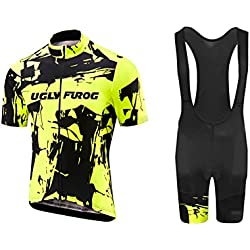 Uglyfrog Bike Wear Ciclismo Hombre Bicycle Maillots +Pantalones cortos Set Manga Corta Verano Transpirable Secado Rápido Cycling Clothes