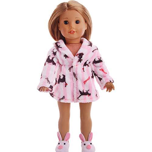 Traje de Moda Invierno Abrigo de Pijama de Felpa Estampada para 18pulgadas Muñeca Americana Chica Gusspower