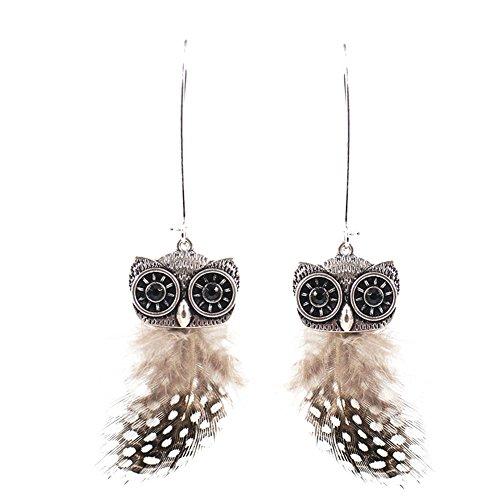 uck Eule mit handgemachten Speck Feder baumeln lange Ohrringe (er005714) (Speck Halloween)