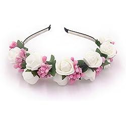 YAZILIND elegante joyeria corona diadema de flores artificiales flor blanca ciruela flor rosa estambres de pelo decorado con estilo accesorio de fiesta de la boda tocado para mujeres ninas
