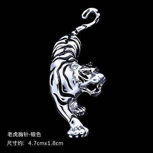 AAHHYY Tiger Brosche Herren Temperament Western Assembly Retro Tiger Downhill Brosche Tide Shirt Mantel Pin,B