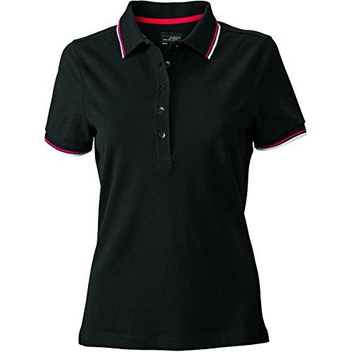 JAMES & NICHOLSON -  Polo  - Basic - Con bottoni  - Maniche corte  - Donna noir-blanc-rouge