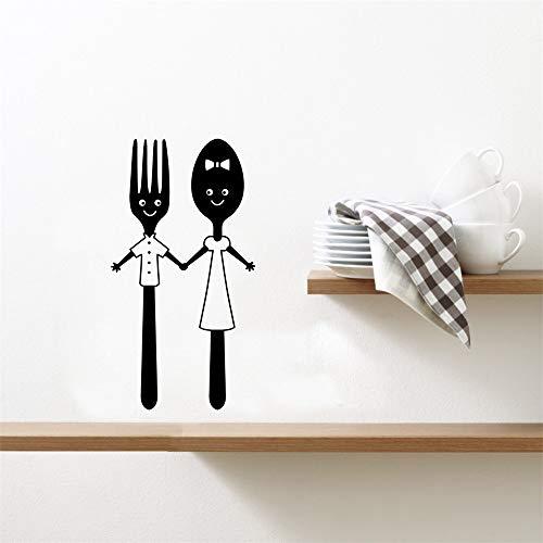 Wandtattoo Wohnzimmer Wandtattoo Schlafzimmer Essbesteck-netter Löffel-Gabel-Entwurf für Küche