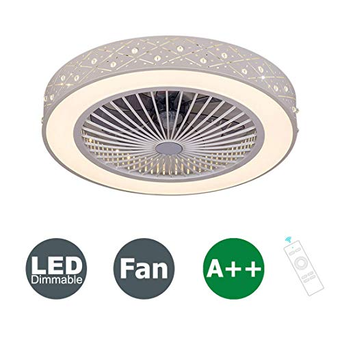 Ceiling Fan Deckenleuchte Fan LED Dimmbar 36W Deckenlampe Leise Deckenventilator mit Lampe Schlafzimmer Esszimmer Deckenbeleuchtung Büro Kinderzimmer Beleuchtung - Mit Bad-fan Licht Ruhiges