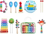 Kids Musical Instruments Set 8 Types 14pcs Wooden Percussion Instruments Toy for Toddlers Educational Musical