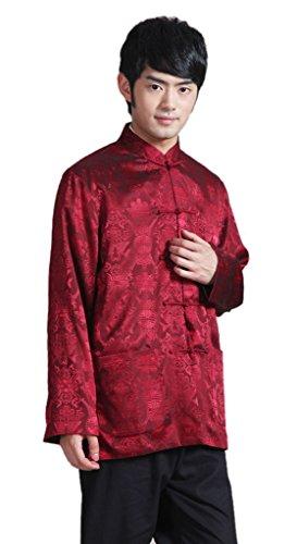 Bigood Blouson Costume Kung-fu Homme Coton Veste Manche Longue Traditionnel Rouge