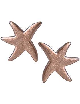 Janusch Ohrstecker Seestern 925 Sterling-Silber, matt rosé vergoldet, maritime Serie