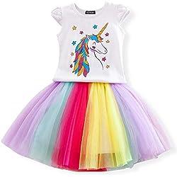Las niñas del Unicornio del Vestido Ocasional del Verano Impreso Top de la Camiseta + Falda del Arco Iris Talla 6-7 años Blanco