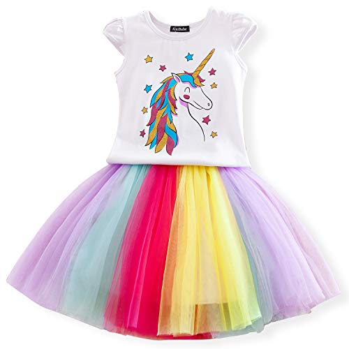 Nnjxd ragazzine unicorn dress set,stampato t-shirt + tutu arcobaleno gonna fancy costume party casual taglia 6-7 anni bianco