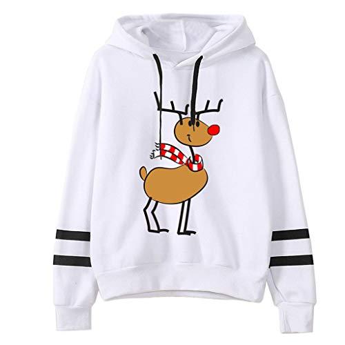 TEFIIR Damen Kapuzenpullover Weihnachten Süß Lustig Drucken Sweatershirt Striped Cuff mit Lanyard Hoodies Lose Langarm Tops Bluse Mode 2019