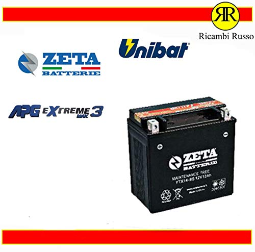 BATTERIA MOTO 12Ah 12V 200A DI SPUNTO AGM CODICE: YTX14-BS
