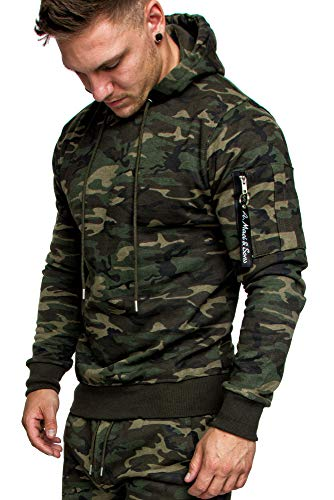 Amaci&Sons Herren Cargo-Style Pullover Sweatshirt Hoodie Sweater Camouflage 4003 Camouflage Khaki L
