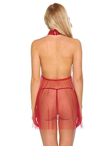 Avidlove Damen Elegant Spitze Negligee V-Ausschnitt Babydoll Dessous Set Reizwäsche Nachthemd Negligé Lingerie Öffnen Zurück mit String Weinrot